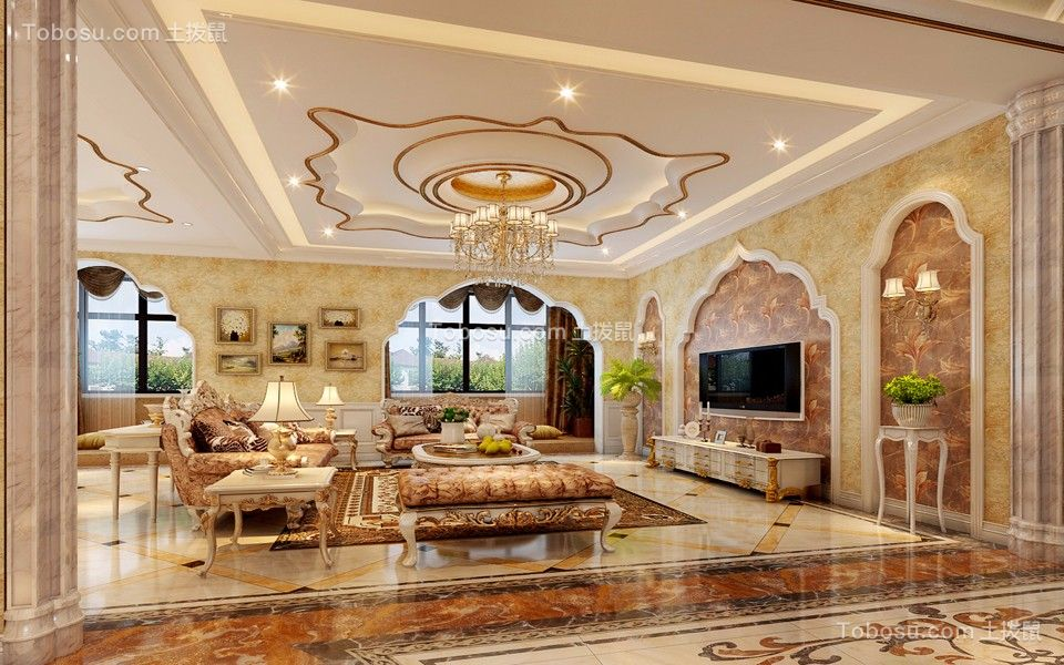 欧式风格200平米复式室内装修效果图图片