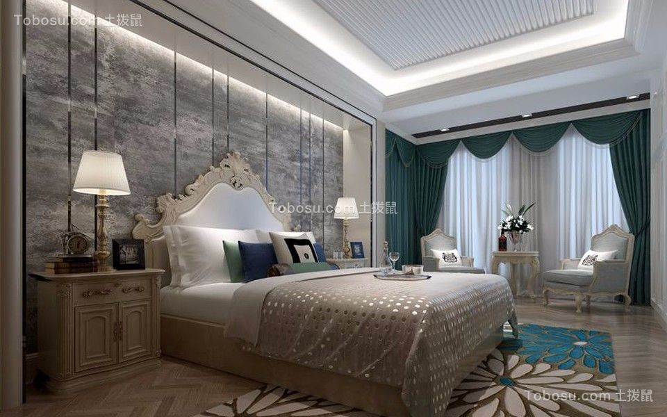欧式风格126平米三室两厅新房装修效果图