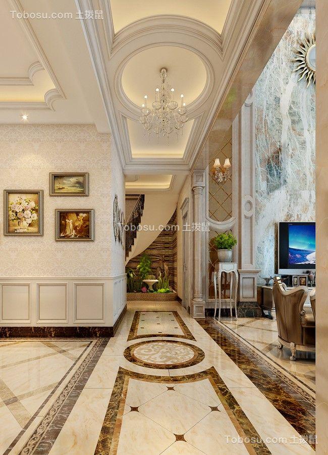 2018欧式客厅装修设计 2018欧式走廊装修效果图大全图片