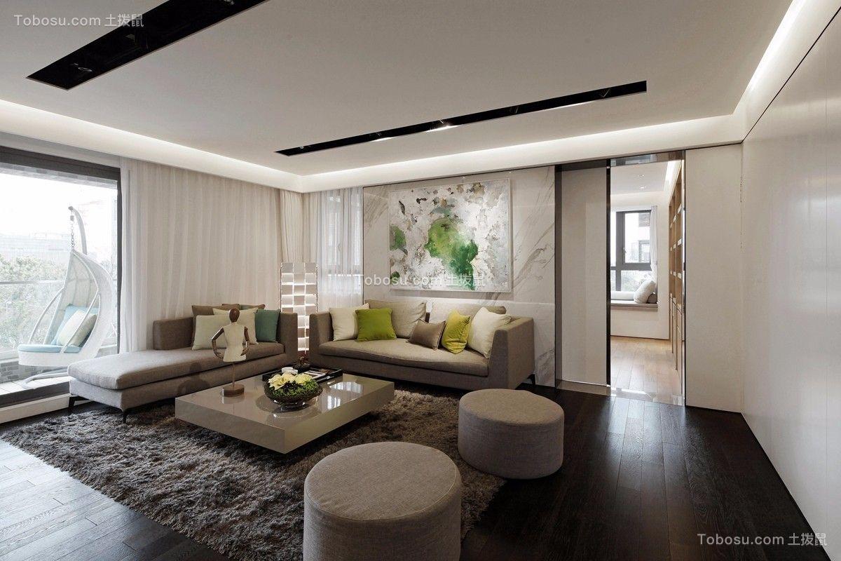 现代简约风格118平米三室两厅新房装修效果图