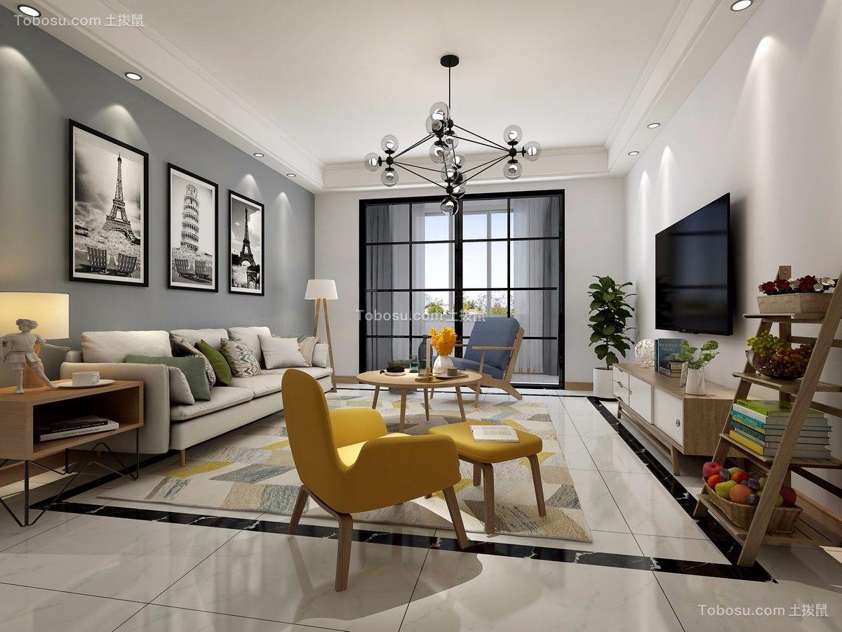 银座华府80平现代简欧风格两室一厅效果图_土拨鼠装修图片