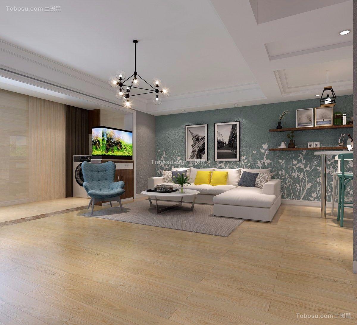 现代简约风格98平米三室两厅新房装修效果图