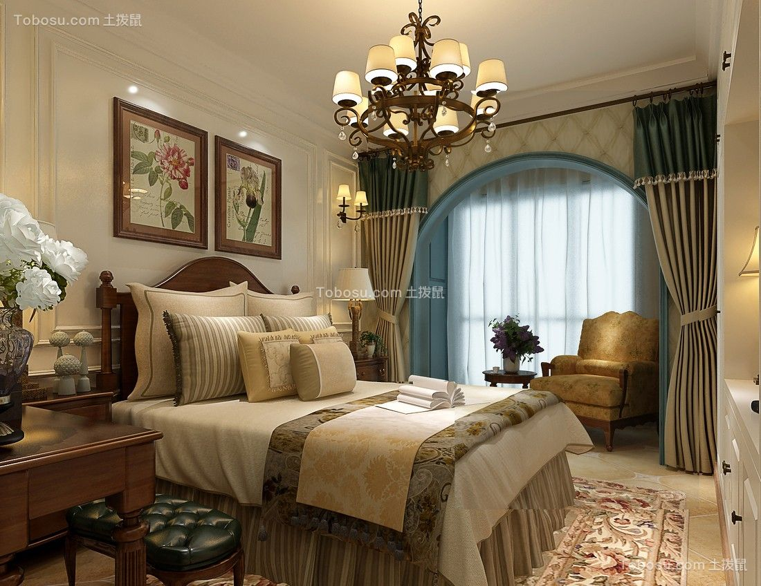 卧室 灯具_地中海风格115平米三室两厅新房装修效果图