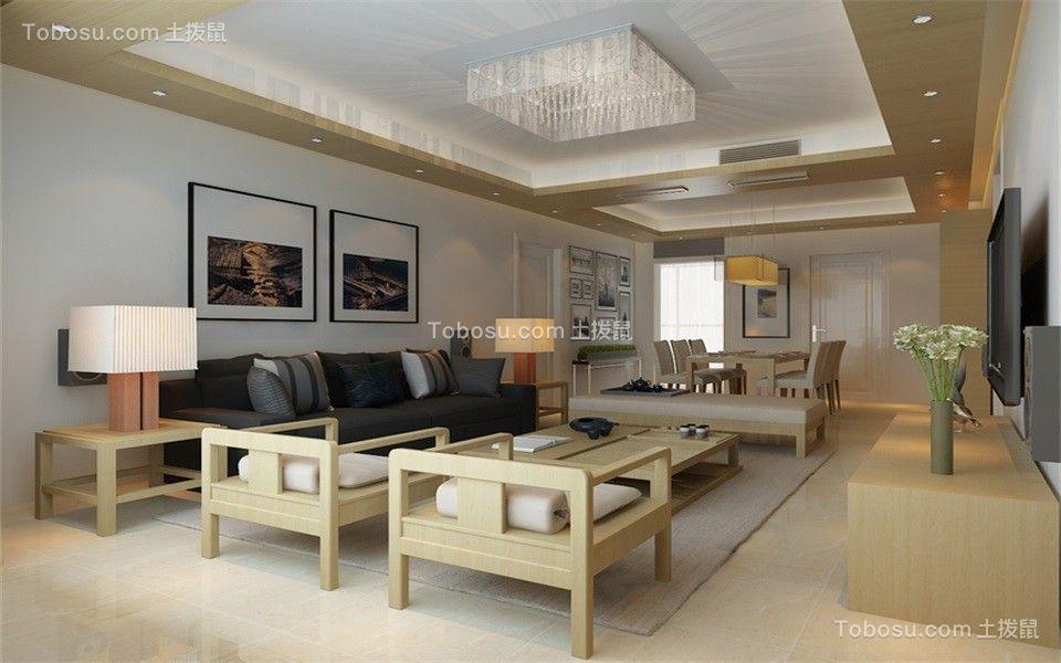 128平米简约风格三居室装修效果图