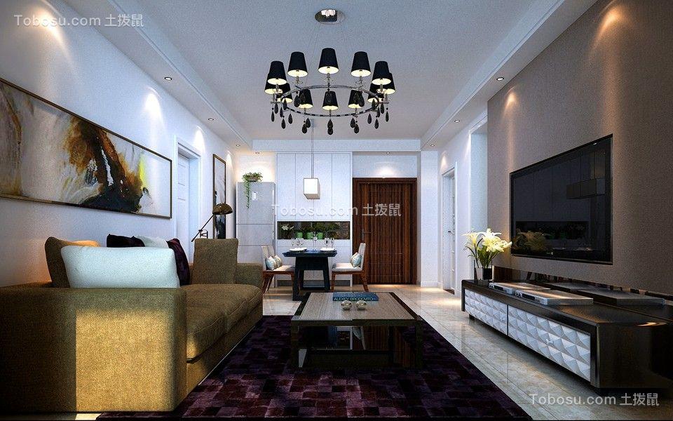 简约风格89平米两室两厅新房装修效果图