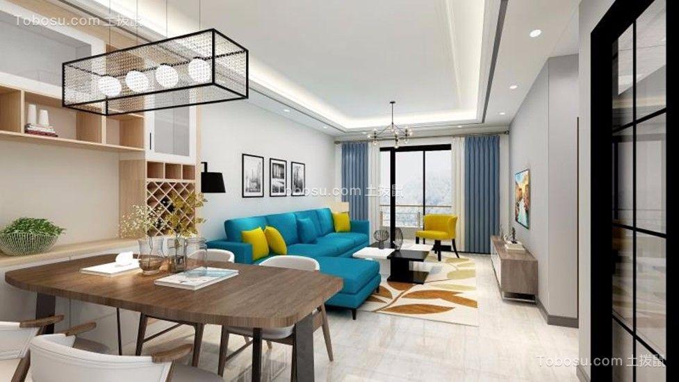 绿岛明珠花园两居室现代简约风格装修效果图