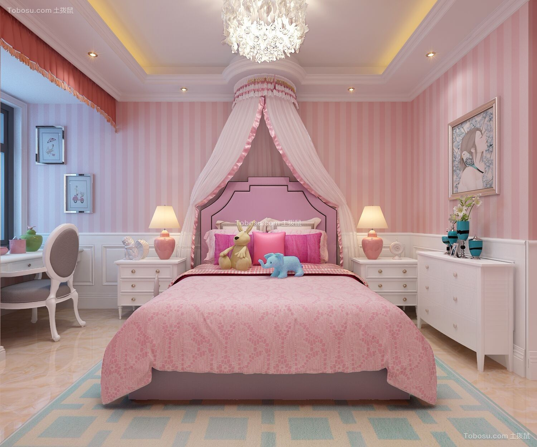 卧室粉色梳妆台新中式风格装饰设计图片