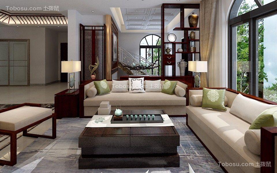 新中式风格2居2厅1卫室内装修设计效果图
