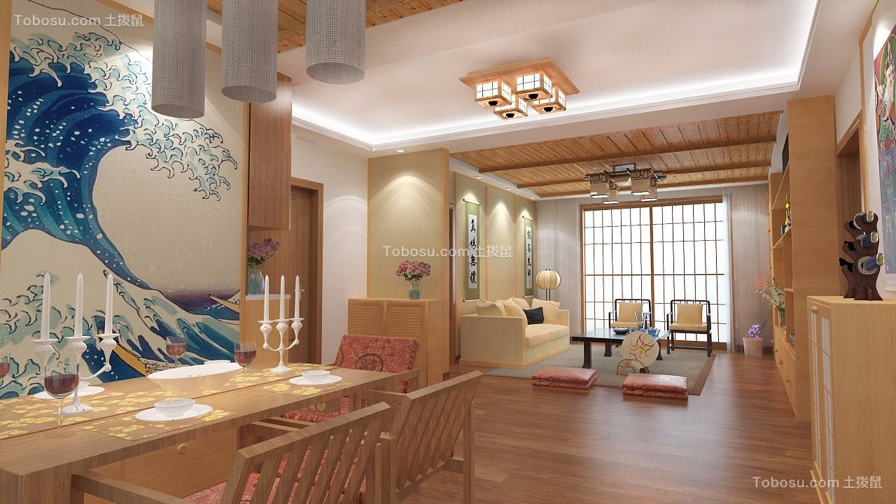 日式风格169平米复式新房装修效果图