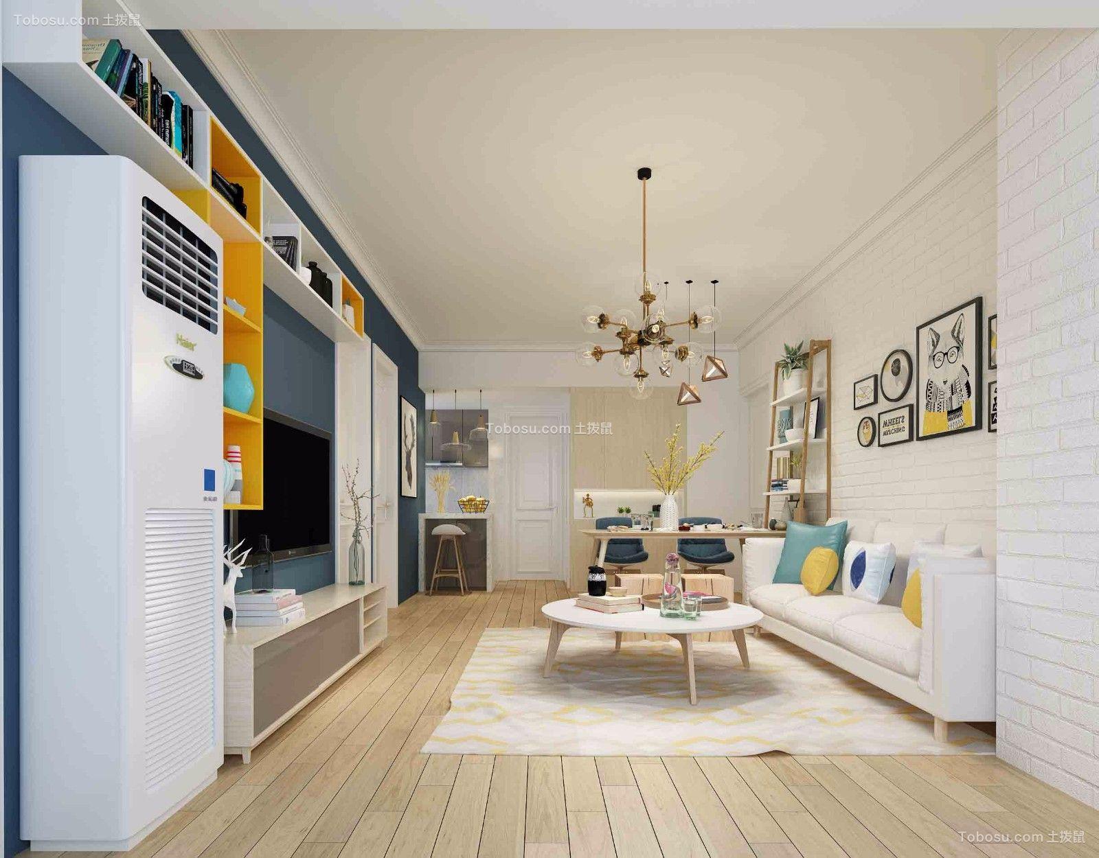 北欧风格78平米三室两厅新房装修效果图