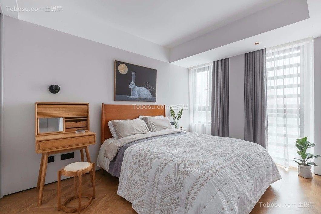 卧室灰色窗帘现代简约风格装潢设计图片
