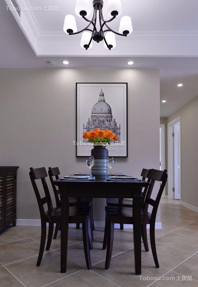 餐厅白色背景墙美式风格装修设计图片