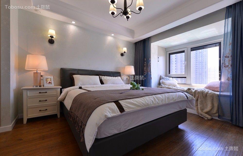 卧室白色飘窗美式风格装潢设计图片