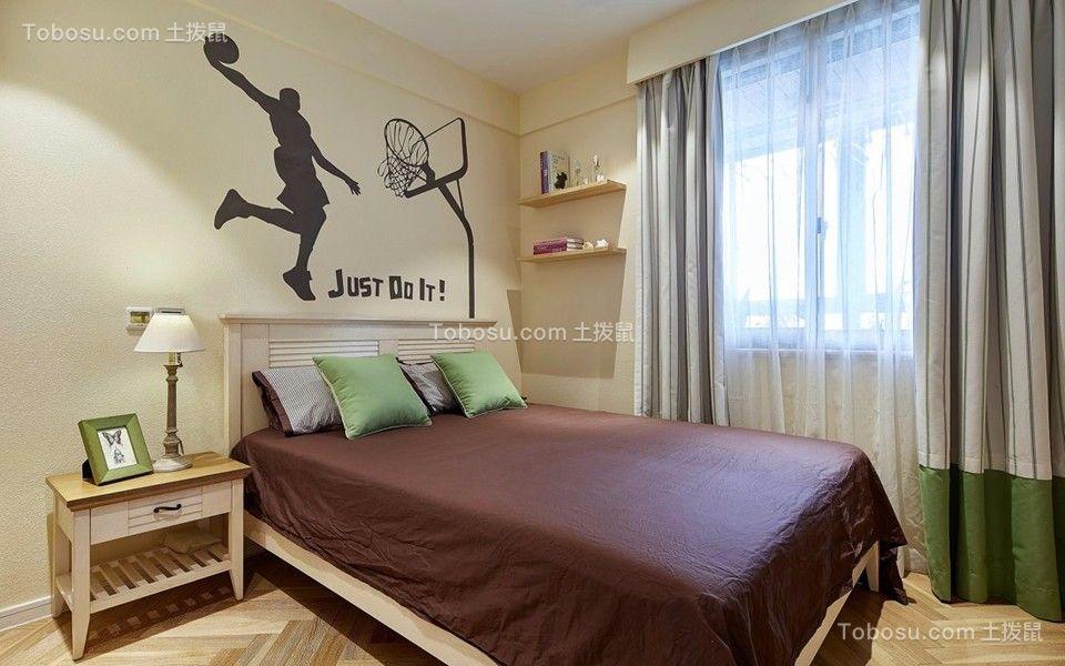 卧室黄色背景墙地中海风格装修设计图片