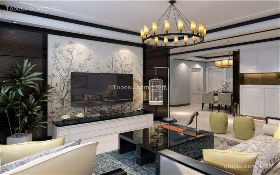 客厅黑色茶几新中式风格装潢设计图片