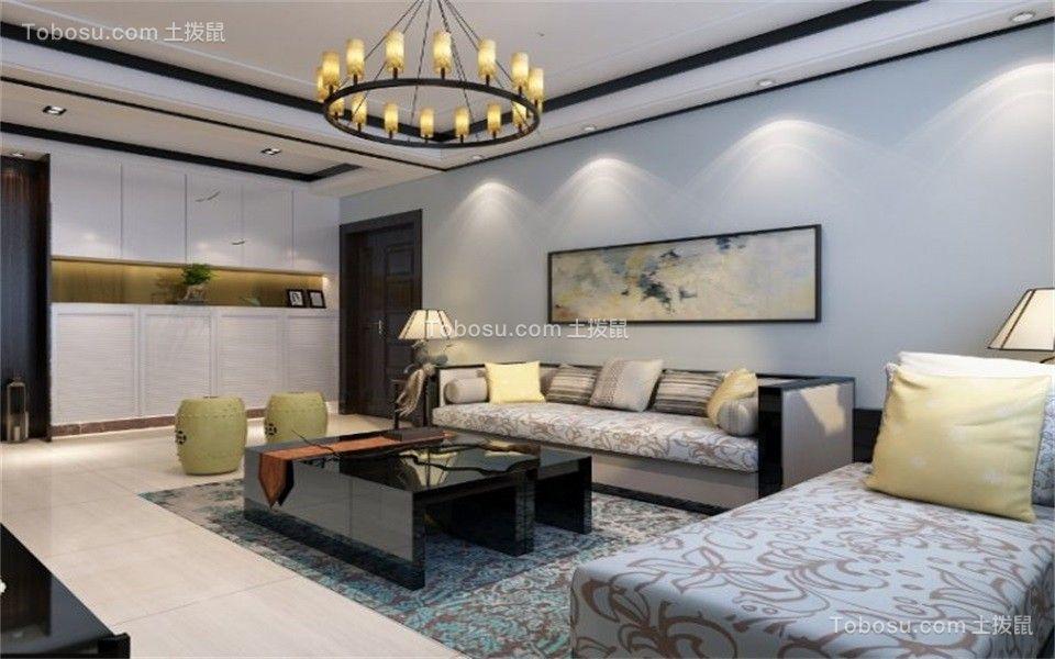 客厅彩色沙发新中式风格效果图