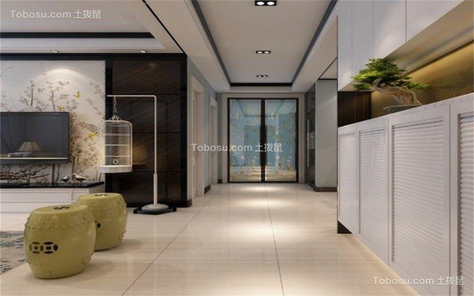 客厅米色地砖新中式风格装修效果图