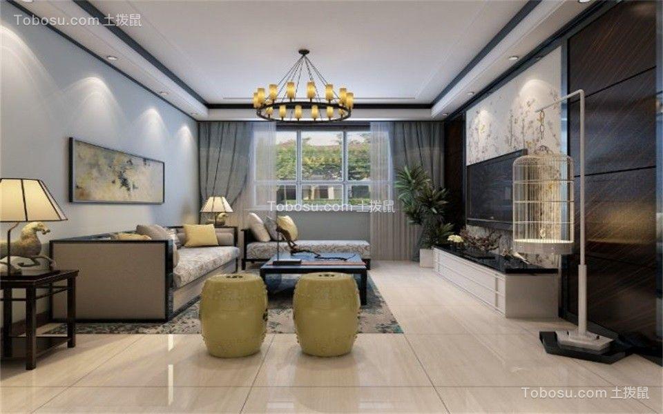 客厅蓝色窗帘新中式风格装饰效果图