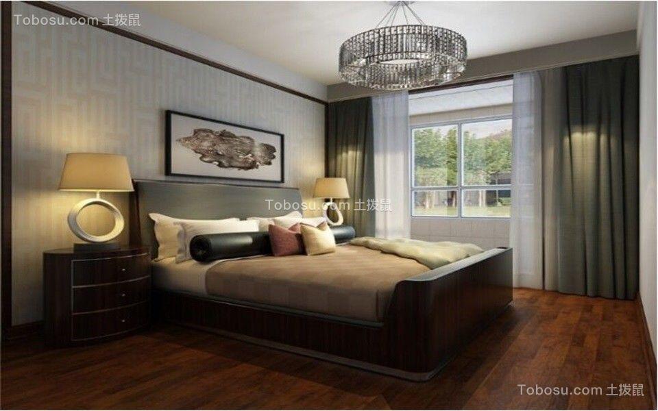 卧室绿色窗帘新中式风格装饰图片