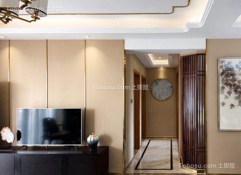 客厅黑色电视柜新中式风格装潢设计图片