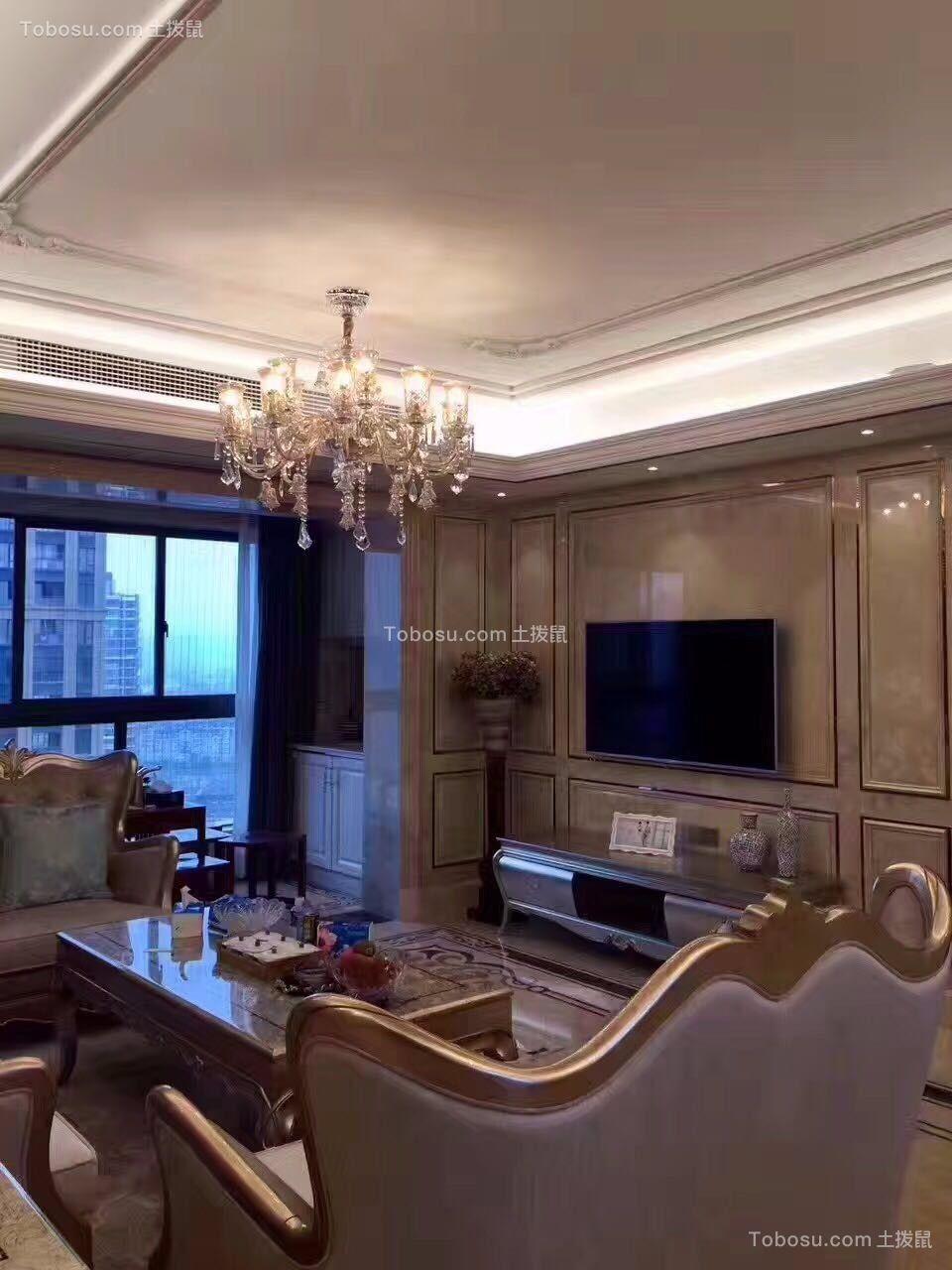 客厅白色电视柜欧式风格装修设计图片