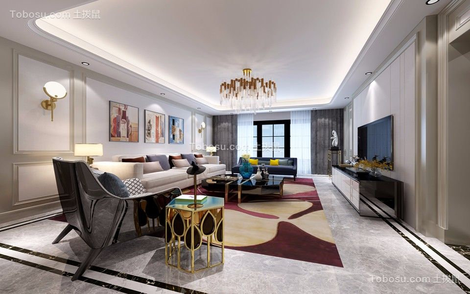 现代风格170平米三室两厅新房装修效果图