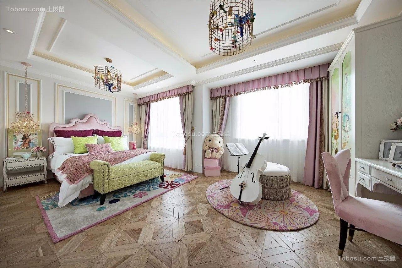 卧室粉色窗帘设计效果图