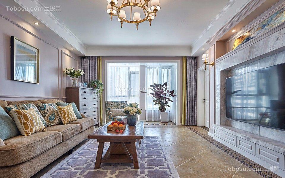 美式风格67平米两室两厅新房装修效果图