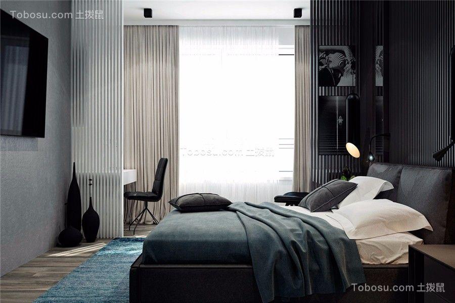 卧室白色落地窗现代简约风格效果图