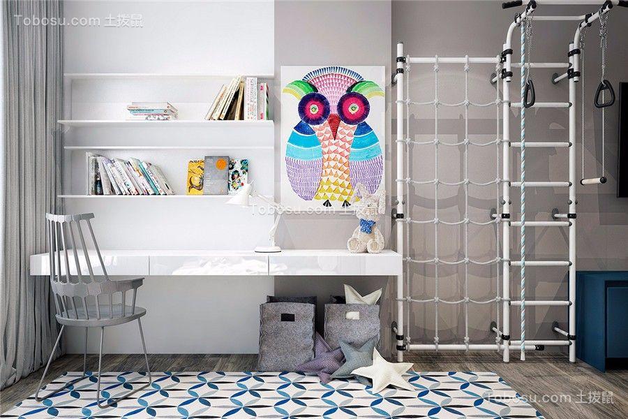 儿童房白色背景墙现代简约风格装修效果图