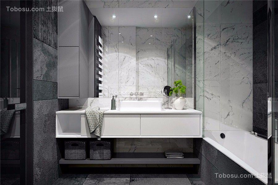 浴室白色洗漱台现代简约风格装修图片