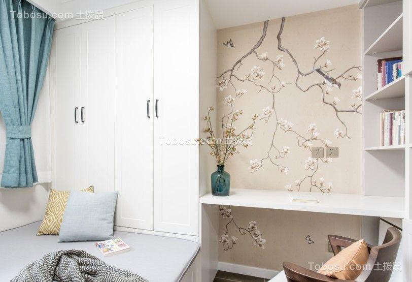 书房蓝色窗帘北欧风格装潢设计图片