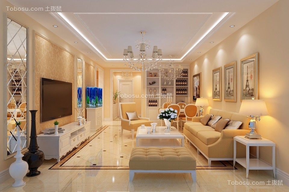 113平简欧风格三居室装修效果图