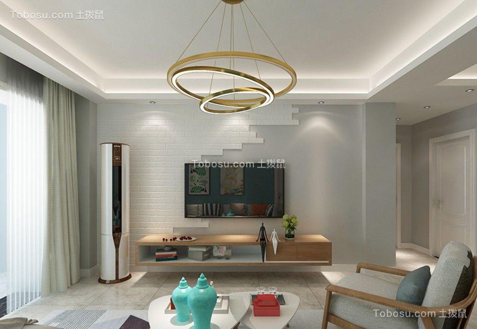 客厅咖啡色电视柜北欧风格效果图图片