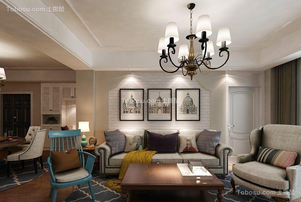 美式风格116平米三室两厅新房装修效果图
