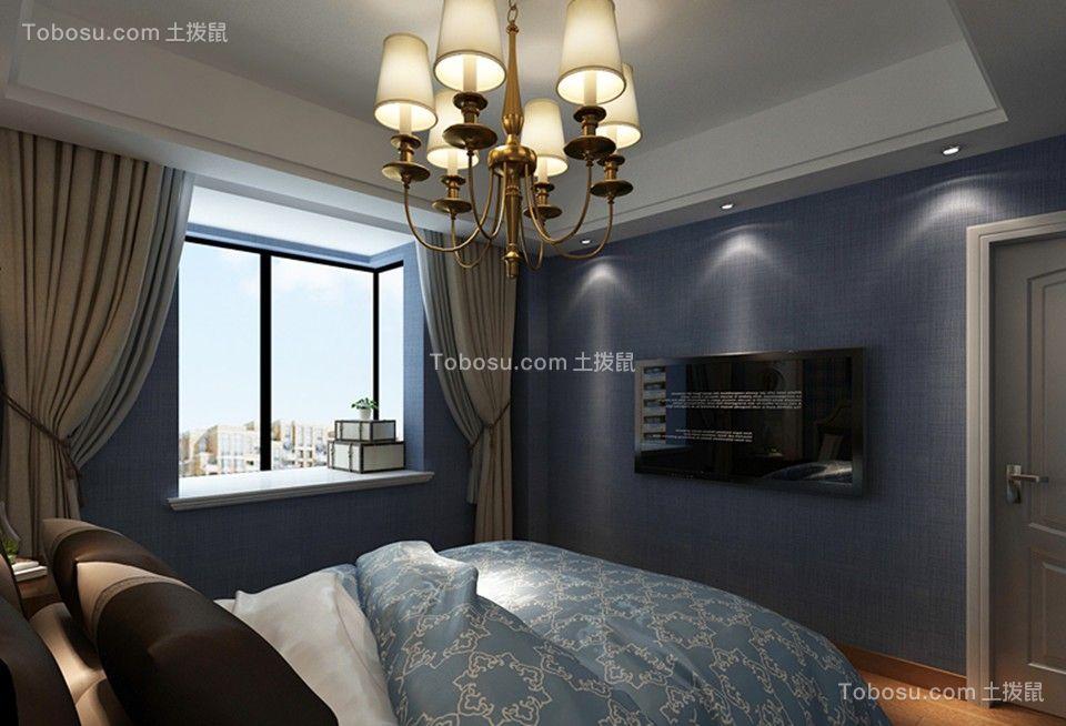 卧室蓝色细节美式风格装潢设计图片