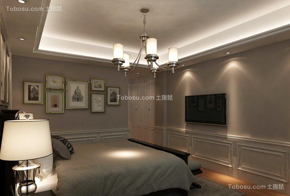 卧室米色吊顶美式风格效果图
