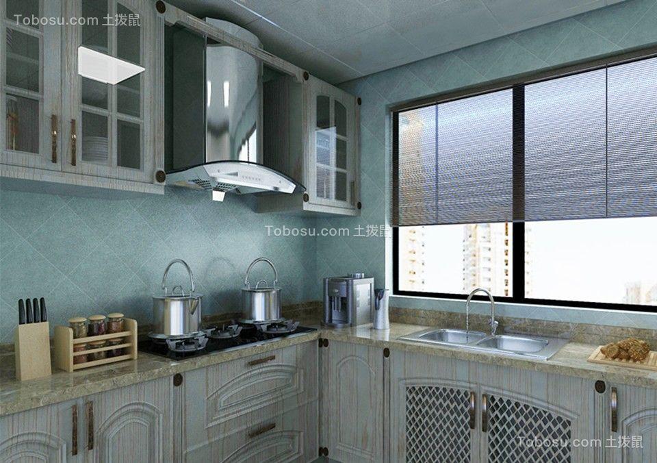 厨房白色厨房岛台美式风格装修效果图