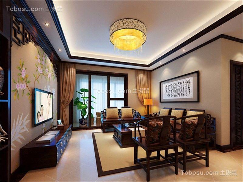 合肥天珑广场120平中式风格三居室装修案例
