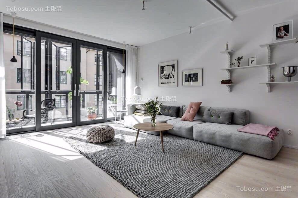 北欧风格110平米三室两厅新房装修效果图图片