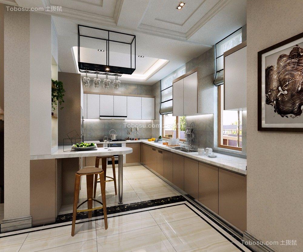 厨房 橱柜_现代简约风格450平米别墅室内装修效果图