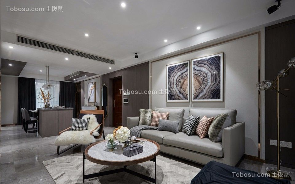 混搭风格82平米两室两厅新房装修效果图