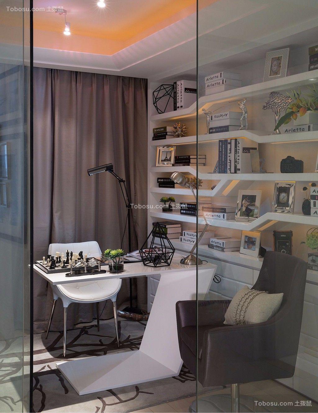 书房白色书架现代简约风格装潢效果图