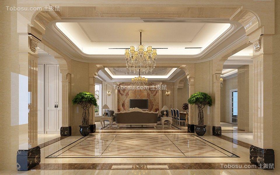 客厅橙色地板砖欧式风格装饰效果图图片