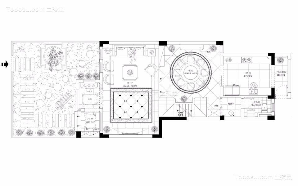 南通山水壹号(别墅)230平米简欧风格效果图