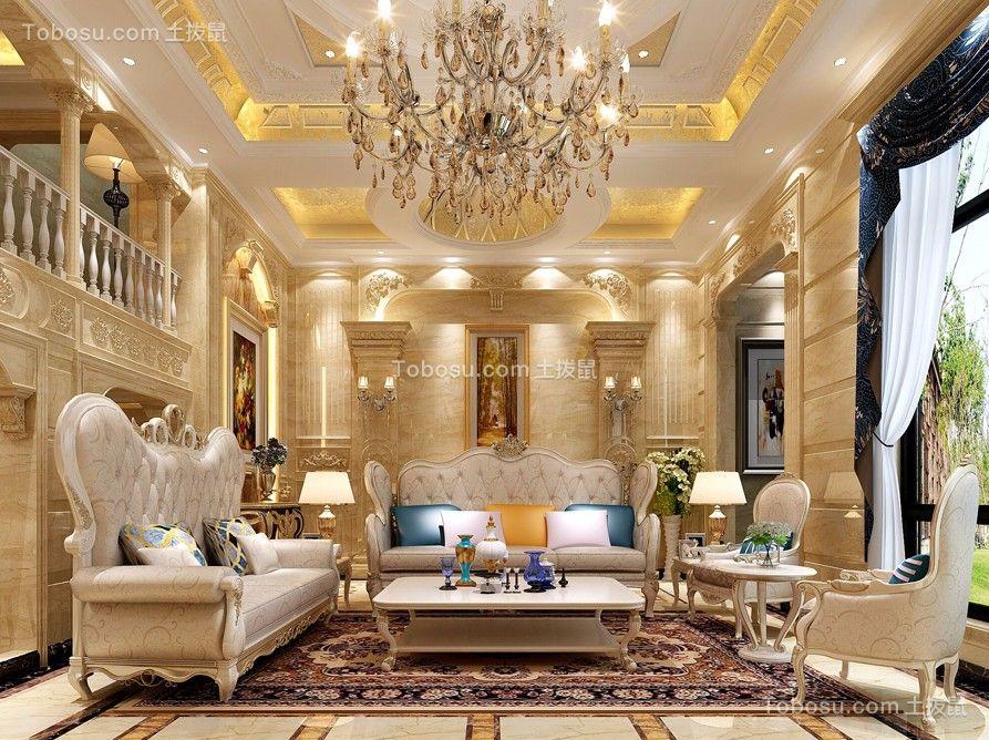 客厅黄色吊顶欧式风格装修效果图图片