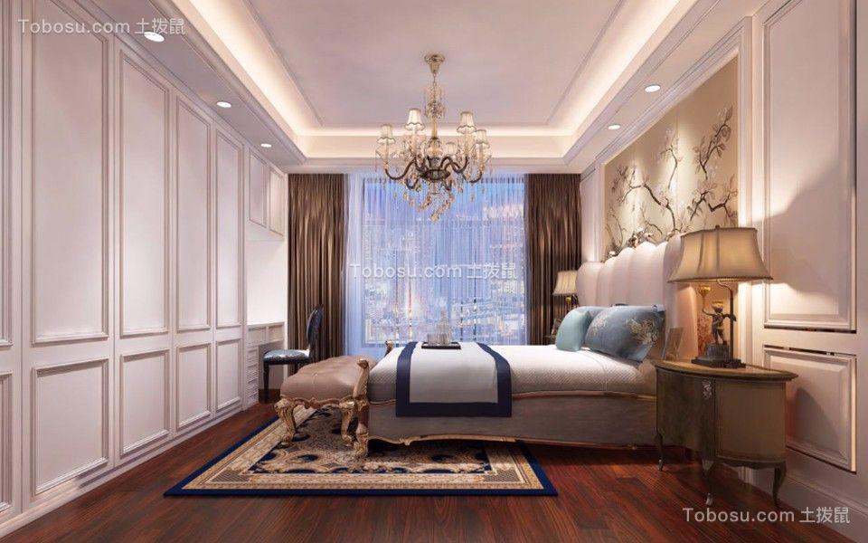 卧室咖啡色窗帘欧式风格装潢设计图片