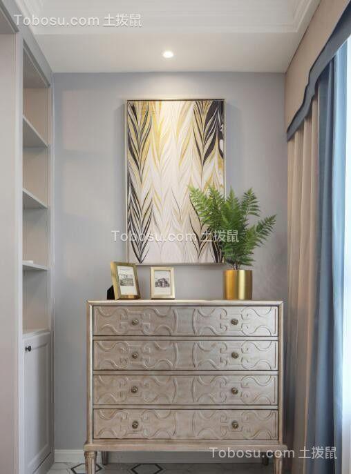 玄关 窗帘_美式风格140平米三室两厅新房装修效果图