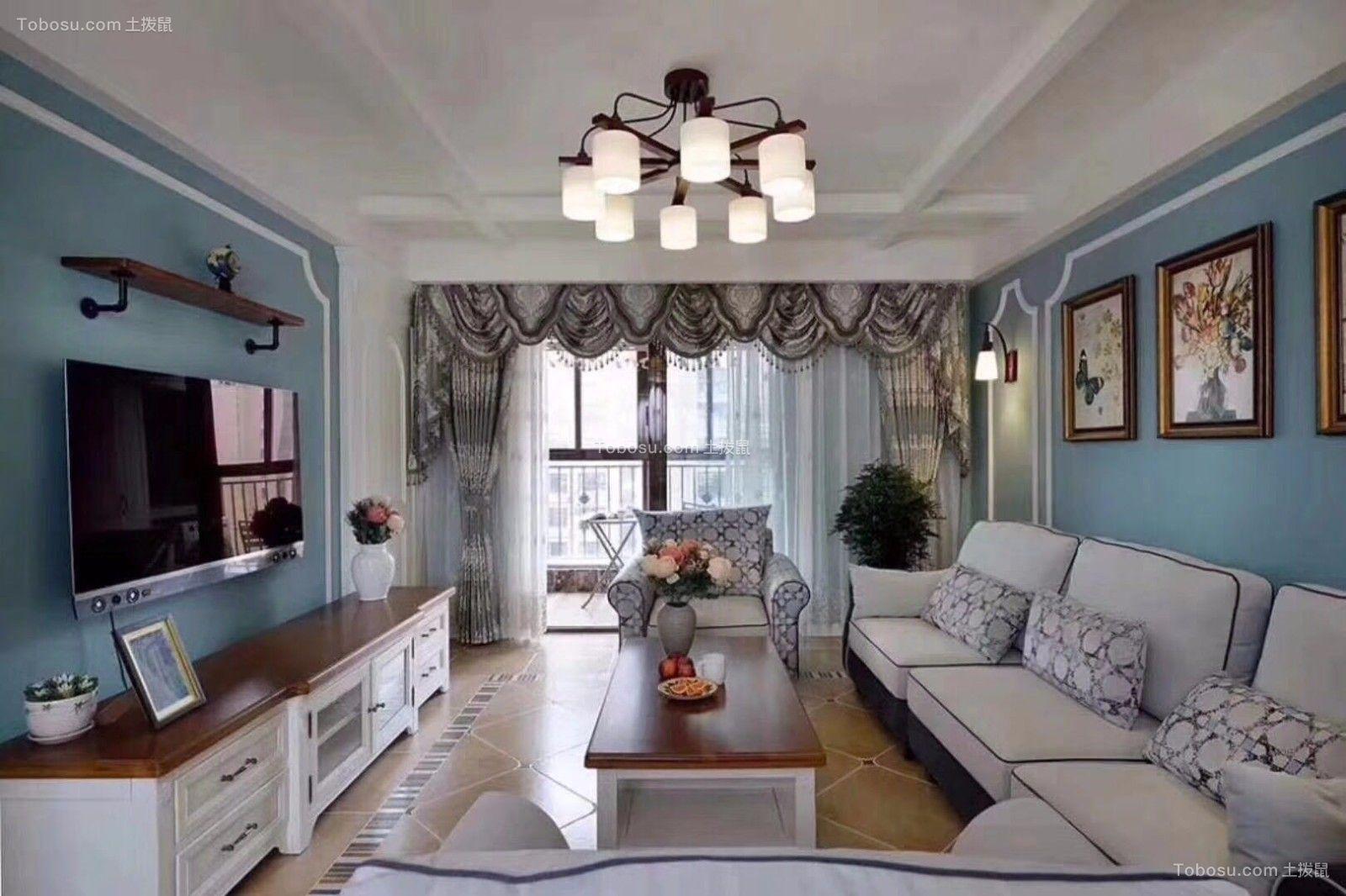 90平地中海风格二居室效果图
