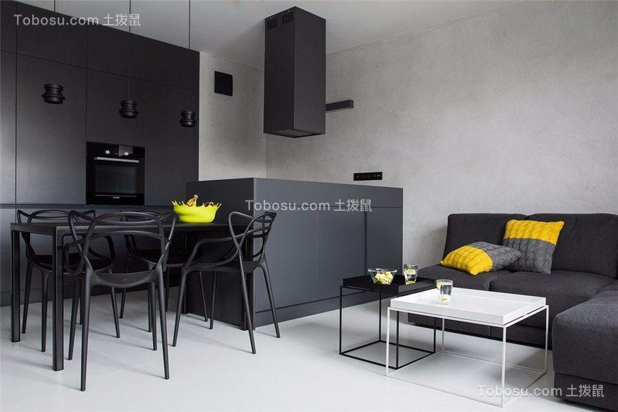 现代风格75平米两室两厅新房装修效果图